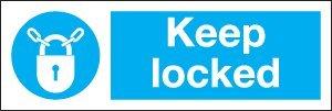 Gebotszeichen–Keep Locked (1mm dicker Hart-Kunststoff, 300x 100mm)