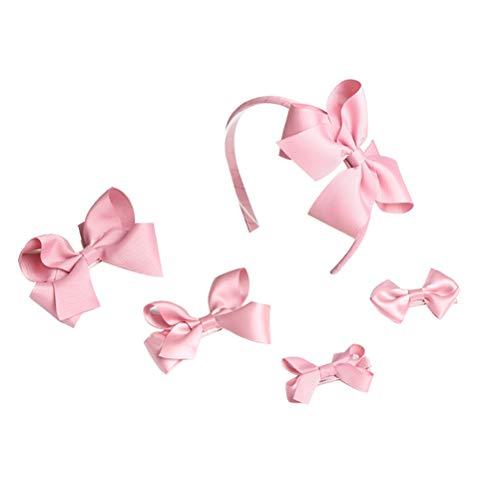 Lurrose 5PC Kinder Haarschleife Clips und Stirnband Set Thread Satin Haarschleife mit Box -