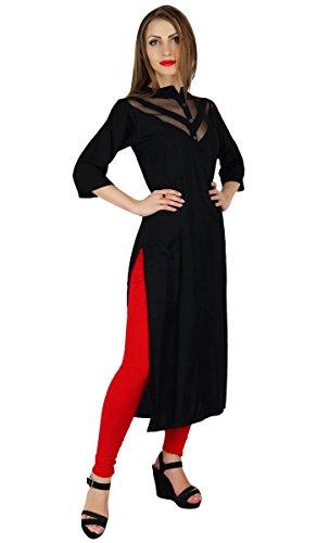 Bimba Femmes Sheer V-Neck Kurta Kurti Trendy Noir Longs Blouse Formal Tunique Noir