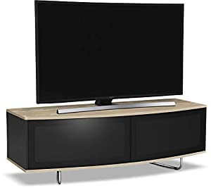 """Centurion Supports Caru Gloss Black and Oak Beam-Thru Remote Friendly Super-Contemporary""""D"""" Shape Design 32""""-65"""" LED/OLED / LCD TV Cabinet"""