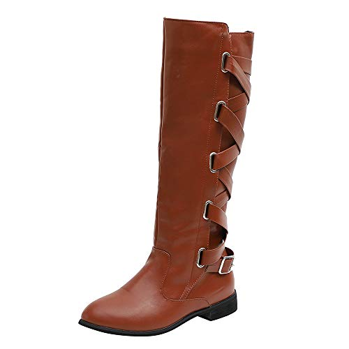 Flach Slouch Boot (OSYARD Damen Leder Flache Langschaftstiefel Schnürstiefelett Seitlicher Reißverschluss Boots, Schuhe Schnalle Roman Riding Kniehohe Cowboystiefel Lange Stiefel)