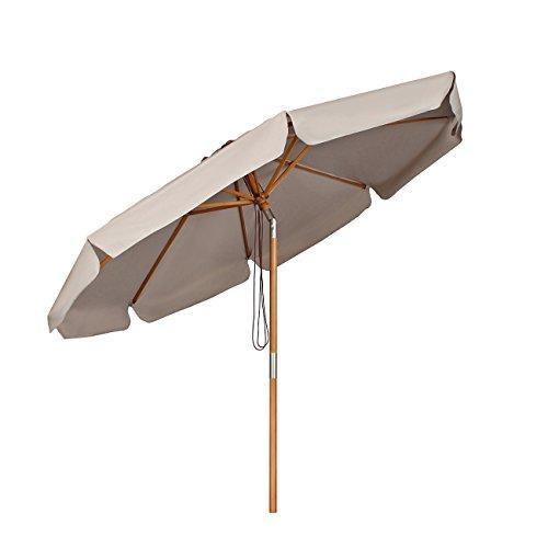 Sekey® Sonnenschirm 300 cm Holz-Sonnenschirm Marktschirm Gartenschirm Terrassenschirm Taupe Rund UV50+