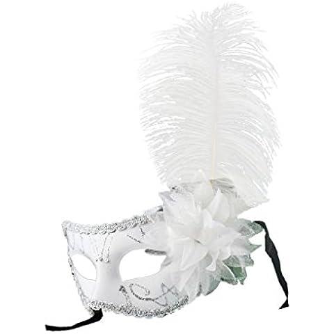 Máscara de Ojo Pluma Flor Veneciana Decoración Bola de Mascarada Partido Fiesta - Blanco