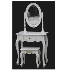 Antique White French Style Dressing Table with Stool