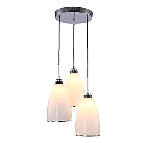 Moderne Mode Luminaire suspendu 3 lumières Lustre Blanc de lait Verre Abat-jour Rond Châssis Lampe pour plafond