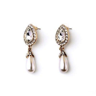 House of joy Ohrringe mit künstlichen Perlen in Tropfenform Kristall Hochzeit Brautschmuck Anlässe Great Gatsby