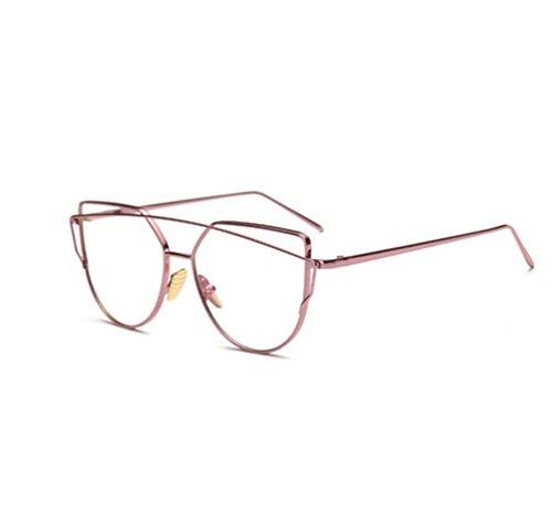 Chinget Unisex Metall Rahmen Klare Sichtscheibe Glas Jahrgang Geek Brille für Damen Herren (Rosa)