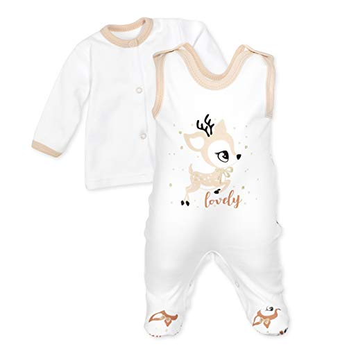 Baby Sweets Baby Set Strampler + Shirt Unisex weiß beige braun   Motiv: Lovely Deer   Babyset 2 Teile für Neugeborene & Kleinkinder   Größe 9 Monate (74)...