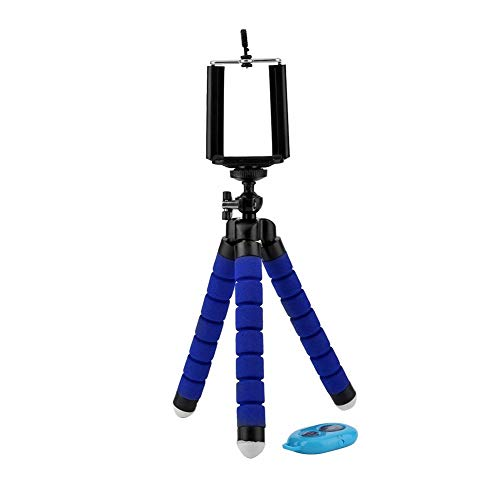 YouN Flexible Octopus Phone Camera Holder Tripod w/Self Timer Phone Clip (Blue) -
