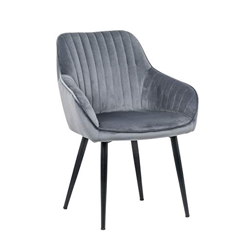 Riess Ambiente Edler Design Stuhl Turin Samt Silbergrau mit Armlehne Esszimmerstuhl Konferenzstuhl