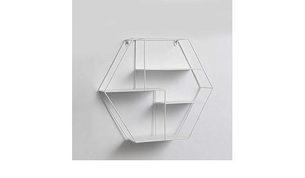 geometrisches Eisen-Wandregal Juntful Aufbewahrungsregal blau Lagerrahmen Metallregal sechseckig Dekoration f/ür Wohnzimmer schwebende Regale modische H/ängefigur