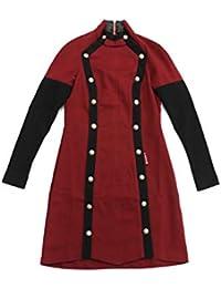 Vestido Elástico de Manga Larga con Doble abotonadura Decorativa para Mujer