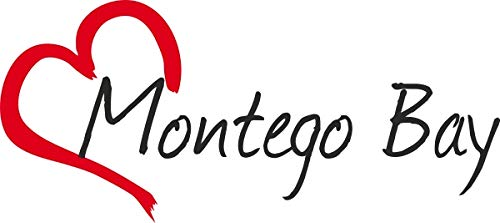 Jamaika Montego Bay (Auto Aufkleber Stadt Montego Bay Jamaika Herz Sticker ca.7x16 cm konturgeschnitten)