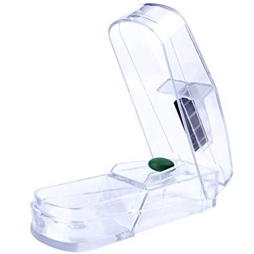 Premium Tablettenteiler | Tablettenschneider mit Edelstahlklinge | Pillenschneider für kleine und große Tabletten | Aufbewahrungsfach | transparent
