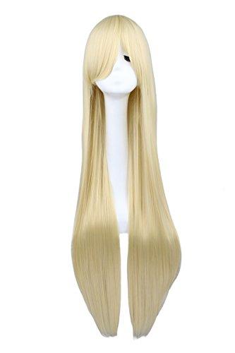 WIAGHUAS Lange Straighgt Cosplay Blonde 100 Cm Kunsthaar Perücken 38 inch