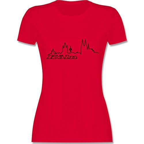 Skyline - Köln Skyline - tailliertes Premium T-Shirt mit Rundhalsausschnitt für Damen Rot