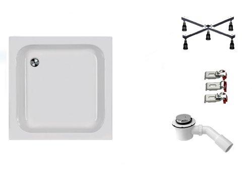 Mebasa DWSET204PF Duschwannen Set 80x80x15cm inkl. Acryl Duschwanne, Duschwannenfuß, Ablaufgarnitur und Wannenanker