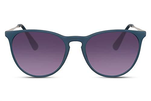 Cheapass Sonnenbrille Mattblauer Gummi Rahmen Lila Runde Gläser Vintage UV400 Schutz Männer Frauen