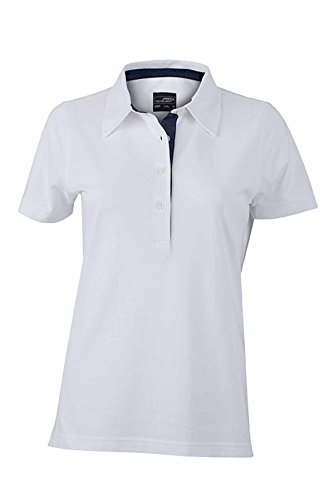 JAMES & NICHOLSON -  Polo  - Basic - Con bottoni  - Maniche corte  - Donna blanc (inserts denim foncé)