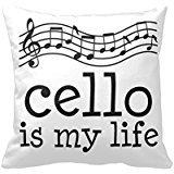percen jours Violoncelle Music Is My Life Throws for Canapé Cushion Cover 18 x 18
