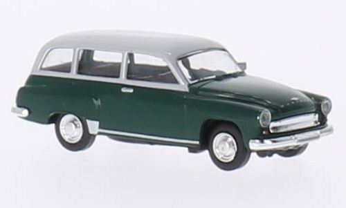 Wartburg 311 Kombi, dunkelgrün/hellgrau, Modellauto, Fertigmodell, Brekina 1:87