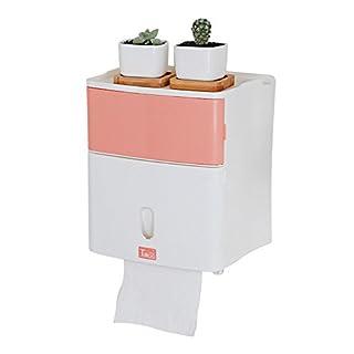 aquatrend Badezimmer Zubehör Toilettenpapier Tissue Container Halter Wasserdicht Material doppelt Fächer Wandhalterung, plastik, rose, M