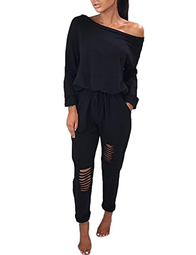 Boutiquefeel Damen Casual Schulterfrei Drawstring Top Ripped Hose Jumpsuits Schwarz XL