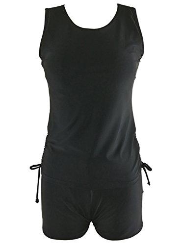 Azue Damen Mädchen Tankini 2 Teilig Badeanzug mit Shorts Bauchweg Bademode Oversize Schwimmanzüge Schwarz XL (Schößchen-kleid Ausgeschnitten)