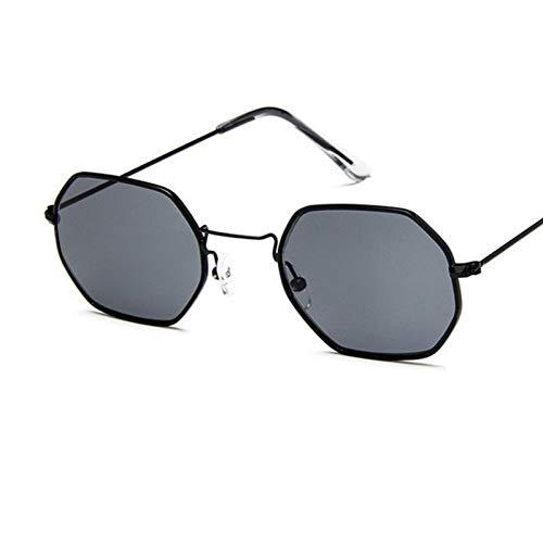 YOURSN Hexagon Sonnenbrillen Damen Small Frame Polygon Sonnenbrillen Herren Designer Blau Rosa Klare Linse Sonnenbrille Weiblich Uv400-Black