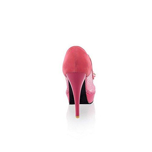 VogueZone009 Damen Pu Leder Rein Ziehen Auf Fischkopf Schuhe Hoher Absatz Sandalen Mit Hohem Absatz Rot