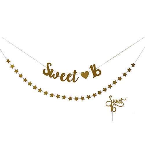 Amosfun Sweet 16 Banner Sweet 16 Cake Topper Golden Glitter 16th Birthday Bunting Banner Star Banner Sweet Sixteen Decorations for Birthday Party Supplies (Cake-topper Sweet 16)