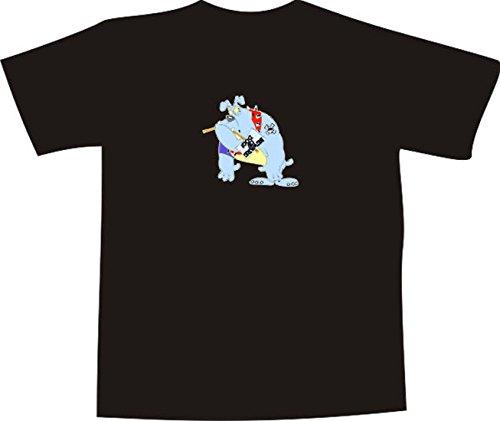 T-Shirt E981 Schönes T-Shirt mit farbigem Brustaufdruck - Logo / Grafik - Comic Design - lustige große Bulldogge mit Schild - BEWARE OF THE DOG Mehrfarbig