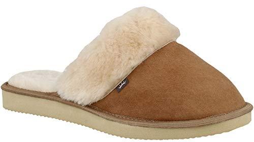Rbj leather shoes . pantofole da donna adulto pregiate 100% pelliccia d'agnello ciabatte esclusive calde comode inverno in confezione regalo (41 eu, marrone)