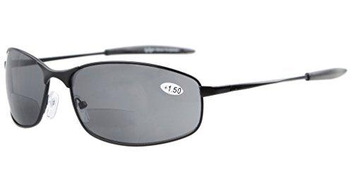 Eyekepper Metallrahmen Fischen Golf Radfahren Fliegen Outdoor Bifokale Sonnenbrille Schwarz +1.0