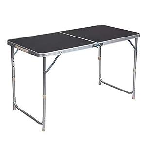 WOLTU® Campingtisch Klapptisch Gartentisch Arbeitstisch Balkontisch höhenverstellbar Aluminium MDF Schwarz CPT8122sz
