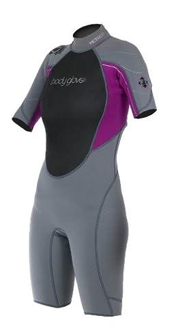 Body Glove Women's Method 3mm Shorty Wetsuit - Grey/Violet, Medium