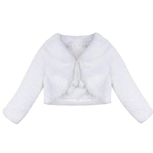 iEFiEL Mädchen Kinder Winter Jacke Schulterjacke Kunstpelz Bolero Strickjacke in Weiß/Rosa/Ivory Festliche Jacke Langarm Weiß 122-128