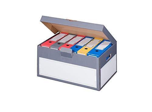 5x Archivbox Archivschachteln mit Deckel und Tragegriffen 522 x 353 x 260 mm anthrazit