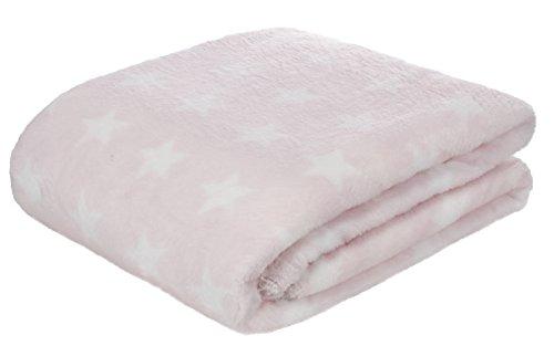 Brandsseller coperta in pile 150 x 200 cm coperta soffice microfleece coperta reversibile a stelle e strisce rosa