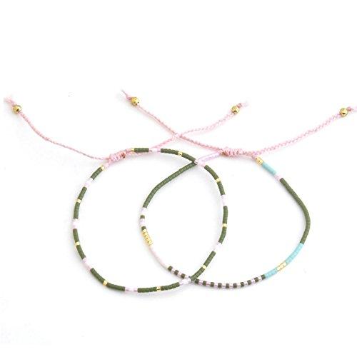 BeyDoDo Modeschmuck Armband FrauenBoho Perlenarmband Handgemachte Geflochtene Armreif Einstellbar Freundschaftsarmbänder Western Freundschaft Armbänder