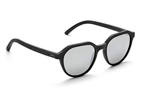 TAKE A SHOT - Flattop Holz-Sonnenbrille unisex, Holz-Bügel, Kunststoff-Rahmen, UV400 Schutz, rückentspiegelte Gläser - Hector