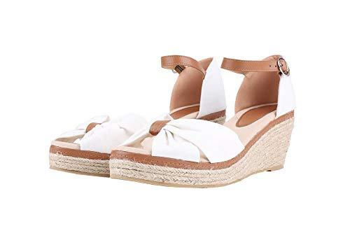 Damen Sandalen Keilabsatz Espadrilles Offen Zeh Slingback Leinwand Knöchelriemen Sommerschuhe mit Bogen Mid Heels Schuhe - Mid Heel Heels Schuhe