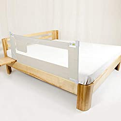 Greensen Bettgitter, Tragbares Faltbar Kinder Bettgitter, Bettschutzgitter für Baby, Kinder Kinderbettgitter/Babybettgitter Beige (180 cm)