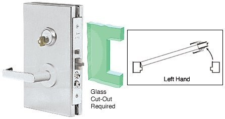 Deadlatch Lock (CRL 6x10 LH Brushed Stainless Finish Center Lock with Deadlatch in Entrance Lock Function by C.R. Laurence)