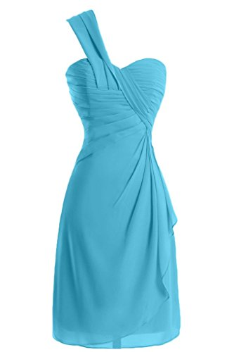 Sunvary a-line One-Shoulder Ruched garza vestiti Homecoming cocktail Azzurro