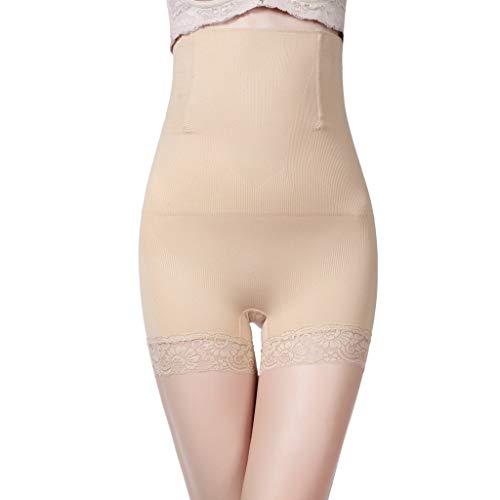 IZHH Damenmode Spitze Korsett Körper Sculpting Hüften Hosen Normallack Dünne Taillen Postpartale Hosen Körperformung Hosen Steuerung Dünne Oberschenkel Magen Shapewear Bauch Hosen Beige M