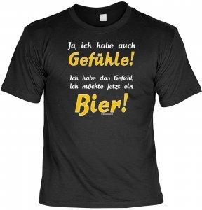 Herren Fun T-Shirt Gefühle für Bier Männer-Shirt Lustig Bedruckt Schwarz Geschenk-Set mit Mini Flaschenshirt (Bier-flaschen-ärmel)