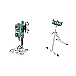 Bosch PBD 40 – Taladro de columna (710 W, caja de cartón) + Bosch 0.603.B05.100 Mesa de trabajo para ingletadoras, Verde, Acero Inoxidable, 700-1150 mm