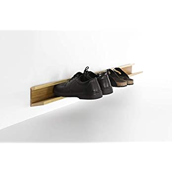Laufender Meter – Design Schuhregal, aus Holz, für Wandmontage