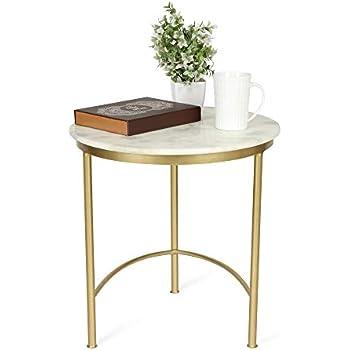 Tavolino da Divano in Soggiorno Dorato LGT21G VASAGLE Tavolino da caff/è Rotondo con Piano in Vetro Temperato e Struttura in Ferro Robusto Stabile Decorativo
